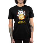 One Roll To Rule Them All Men's t-shirt model TeeTurtle black t-shirt featuring a cat with its paws around a big tabletop gaming dice