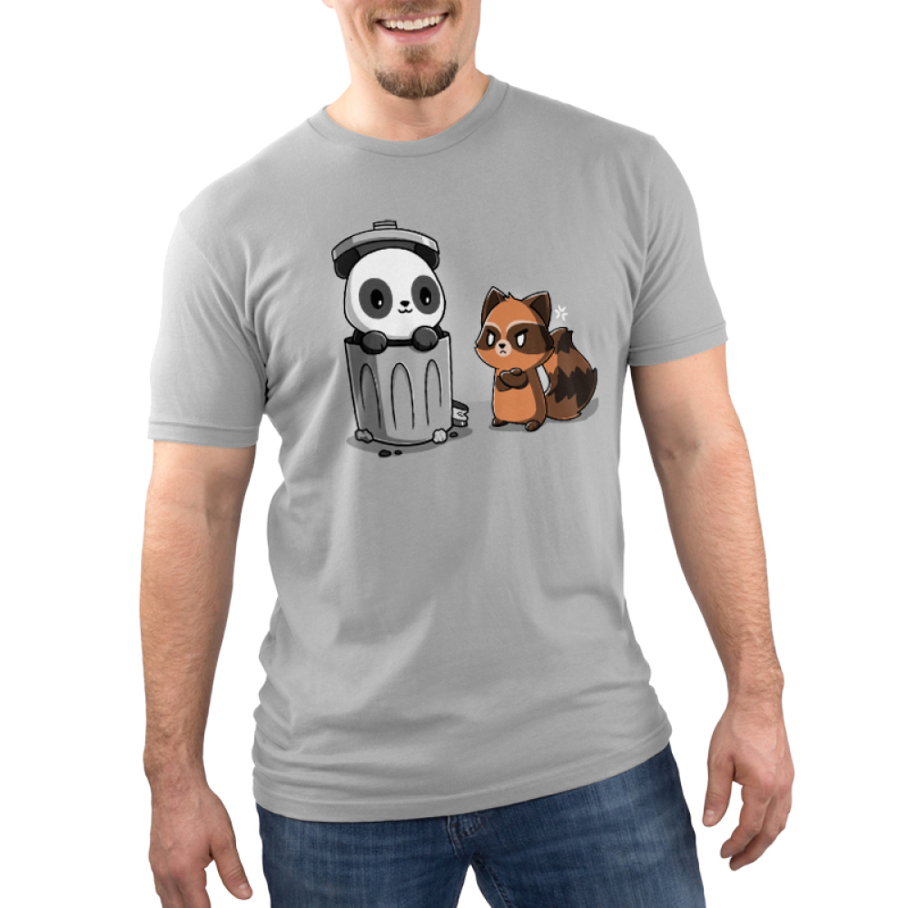 Trash Pandas Men's t-shirt model TeeTurtle light gray t-shirt featuring a panda smiling in a trash can and a raccoon looking angry at him