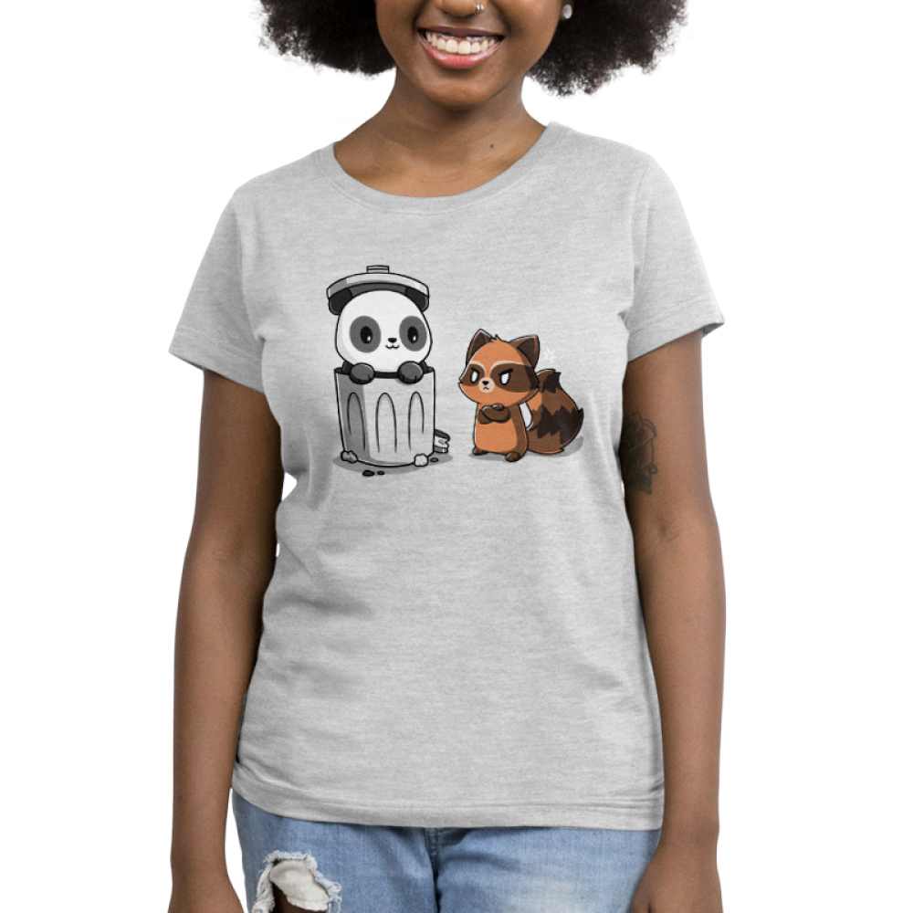 Trash Pandas Women's t-shirt model TeeTurtle light gray t-shirt featuring a panda smiling in a trash can and a raccoon looking angry at him