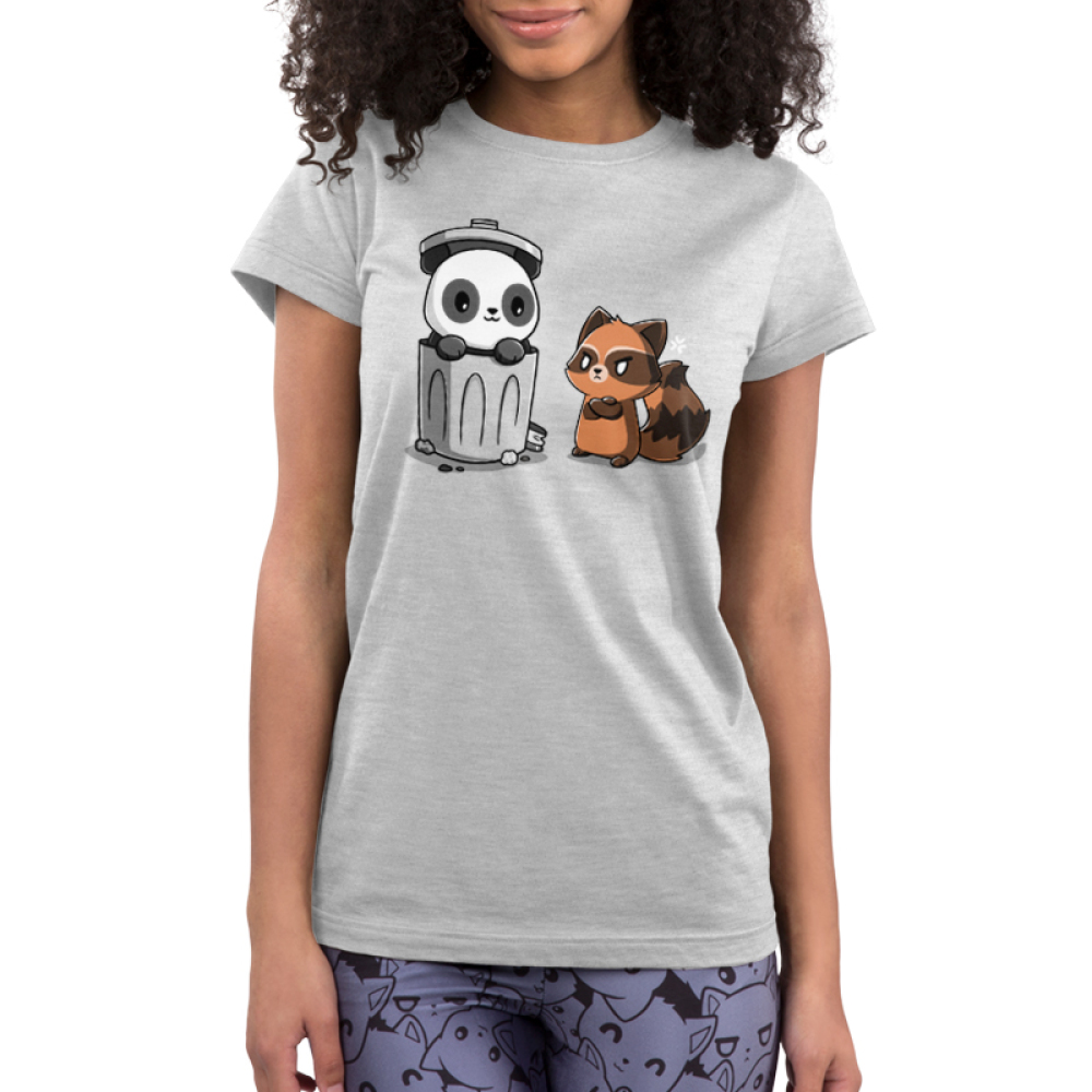 Trash Pandas Junior's t-shirt model TeeTurtle light gray t-shirt featuring a panda smiling in a trash can and a raccoon looking angry at him