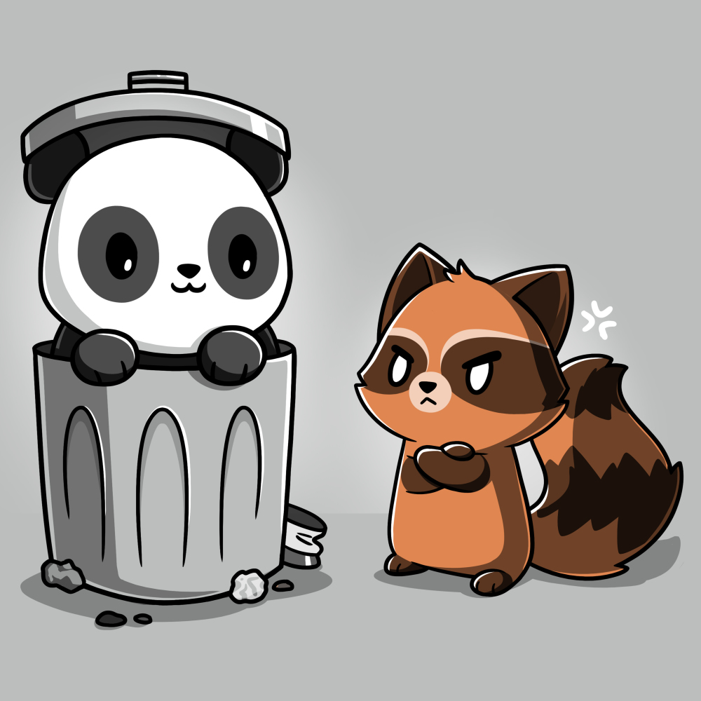 Trash Pandas t-shirt TeeTurtle light gray t-shirt featuring a panda smiling in a trash can and a raccoon looking angry at him