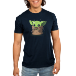 Sipping Soup Men's t-shirt model officially licensed Star Wars navy t-shirt featuring the child from the mandalorian sipping a cup of soup with stars around him