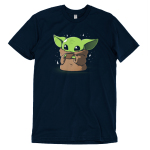 Sipping Soup t-shirt officially licensed Star Wars navy t-shirt featuring the child from the mandalorian sipping a cup of soup with stars around him