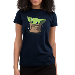 Sipping Soup Junior's t-shirt model officially licensed Star Wars navy t-shirt featuring the child from the mandalorian sipping a cup of soup with stars around him