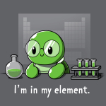 I'm In My Element t-shirt TeeTurtle dark gray t-shirt featuring a turtle in big glasses in a lab with a periodic table behind him, a flak, and test tubes with green liquid beside him