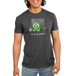 I'm In My Element Men's t-shirt model TeeTurtle dark gray t-shirt featuring a turtle in big glasses in a lab with a periodic table behind him, a flak, and test tubes with green liquid beside him
