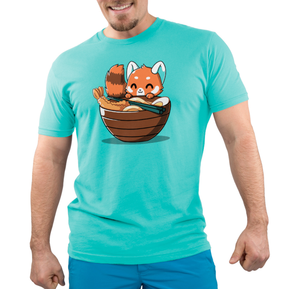 Udon Red Panda Men's t-shirt model TeeTurtle caribbean blue t-shirt featuring a red panda smiling right next to a big bowl of ramen