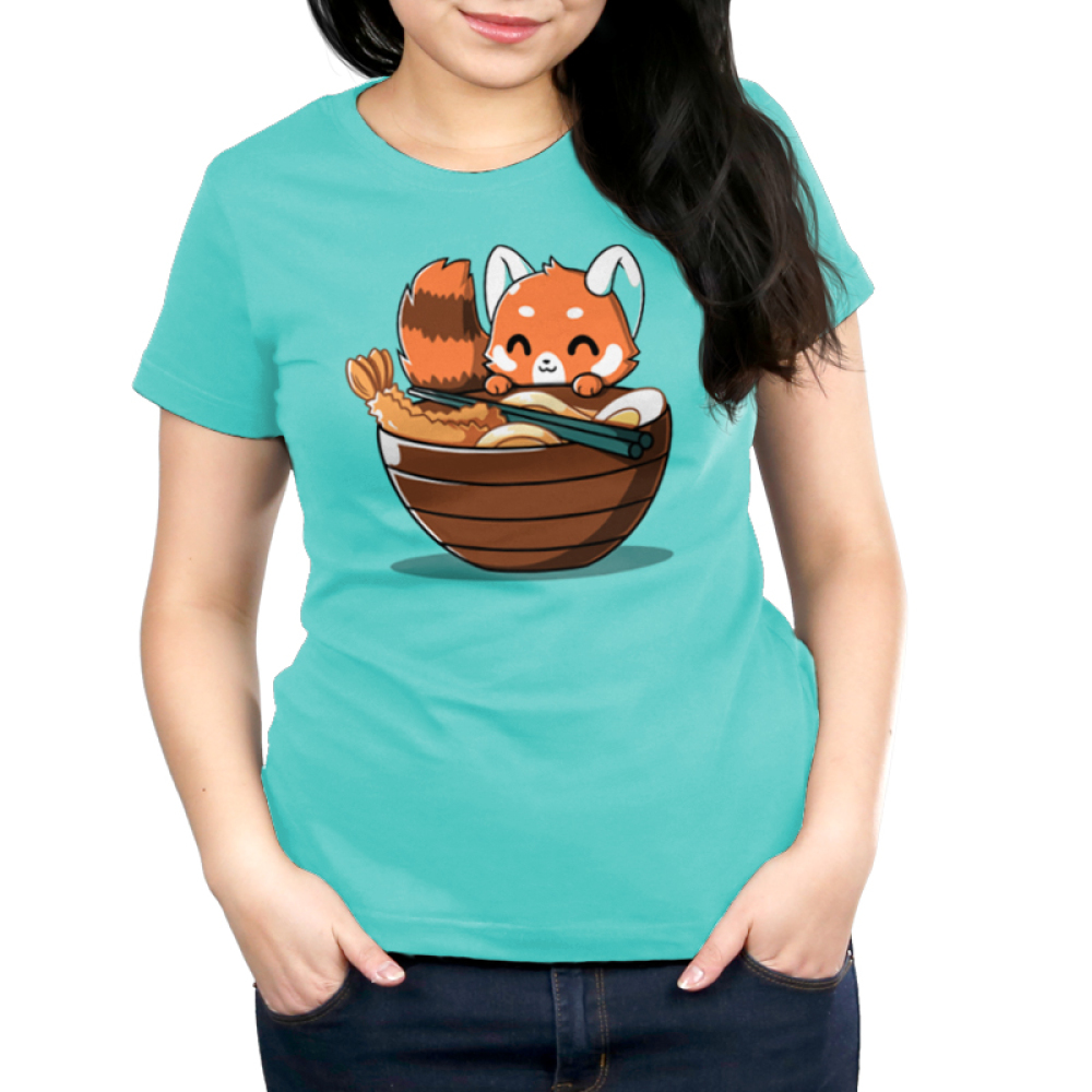 Udon Red Panda Women's t-shirt model TeeTurtle caribbean blue t-shirt featuring a red panda smiling right next to a big bowl of ramen