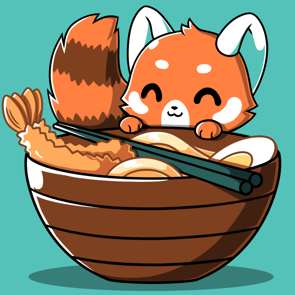 Udon Red Panda t-shirt TeeTurtle caribbean blue t-shirt featuring a red panda smiling right next to a big bowl of ramen