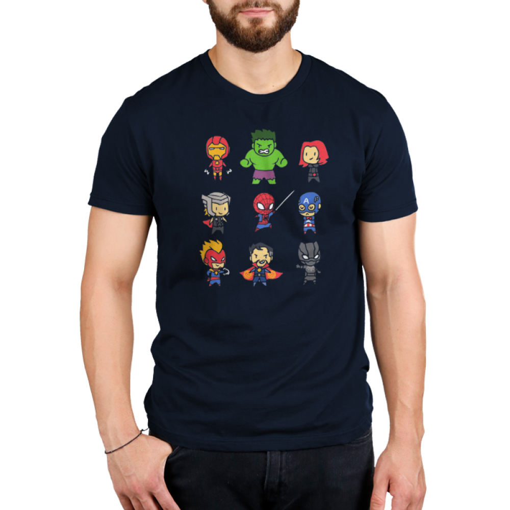 Derpy Avengers Men's t-shirt model officially licensed navy Marvel t-shirt featuring all of the avengers