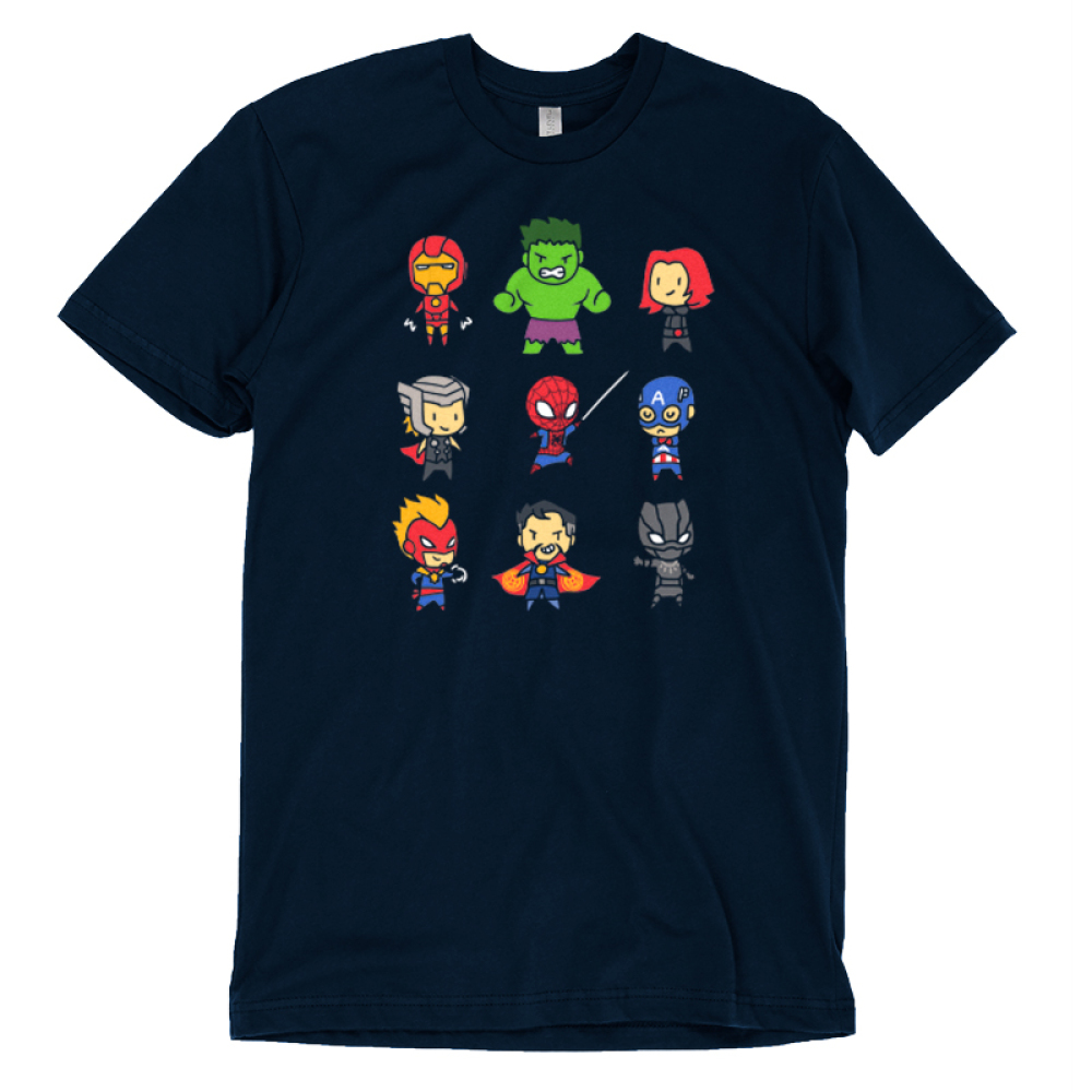 Derpy Avengers t-shirt officially licensed navy Marvel t-shirt featuring all of the avengers