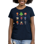 Derpy Avengers Women's t-shirt model officially licensed navy Marvel t-shirt featuring all of the avengers