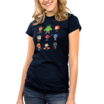 Derpy Avengers Junior's t-shirt model officially licensed navy Marvel t-shirt featuring all of the avengers