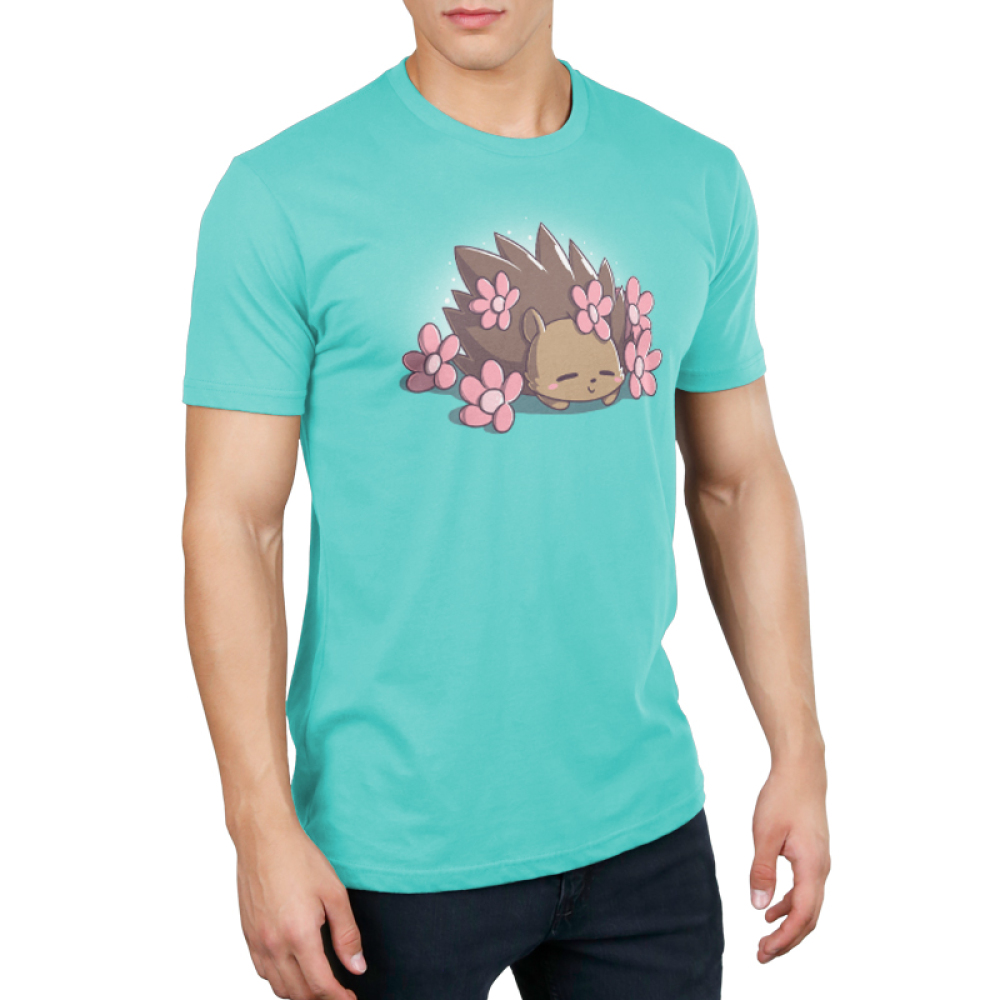 Prickly Petals Men's t-shirt model TeeTurtle caribbean blue t-shirt featuring a smiling hedgehog covered in prink flowers