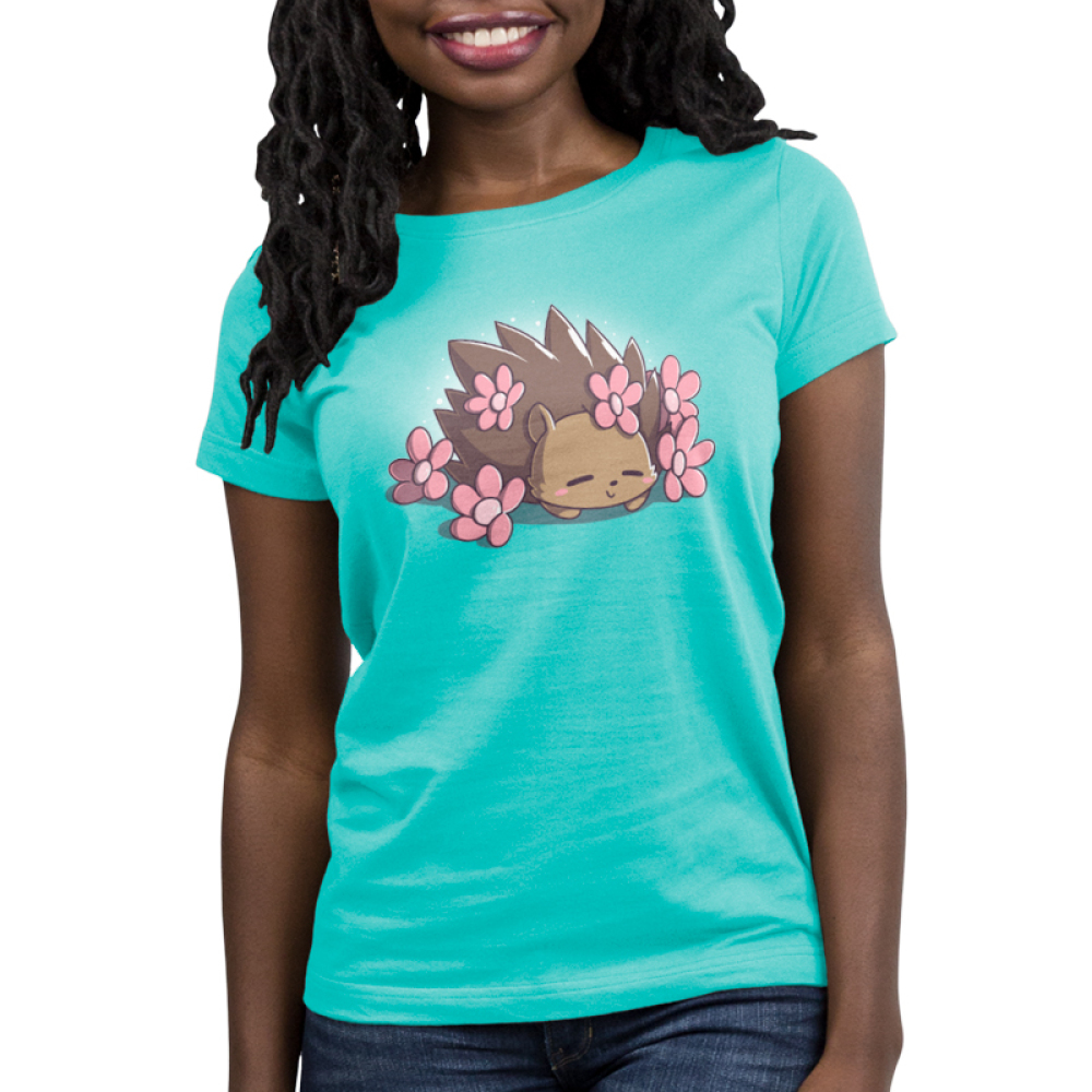 Prickly Petals Women's t-shirt model TeeTurtle caribbean blue t-shirt featuring a smiling hedgehog covered in prink flowers