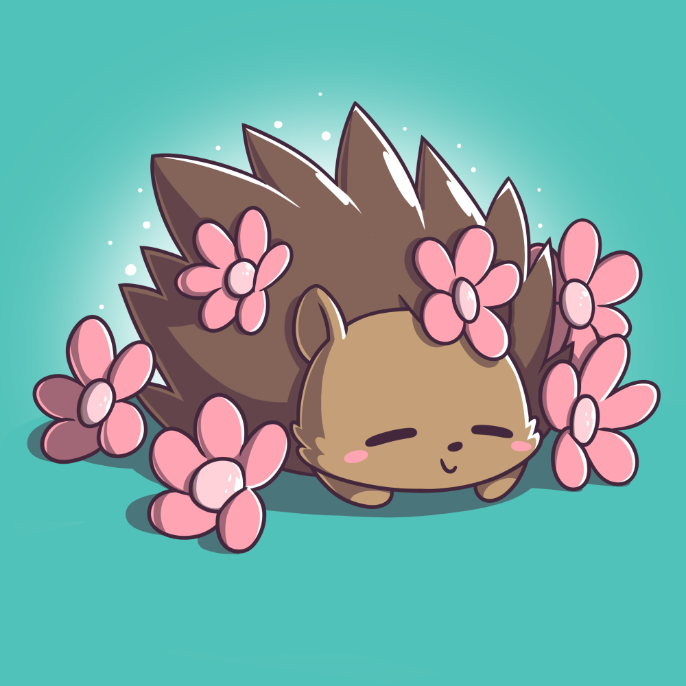 Prickly Petals t-shirt TeeTurtle caribbean blue t-shirt featuring a smiling hedgehog covered in prink flowers