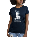 Coffee. Now. Women's t-shirt model TeeTurtle navy t-shirt featuring an angry looking unicorn with a knife on its horn and a coffee mug in front of him