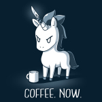 Coffee. Now. t-shirt TeeTurtle navy t-shirt featuring an angry looking unicorn with a knife on its horn and a coffee mug in front of him