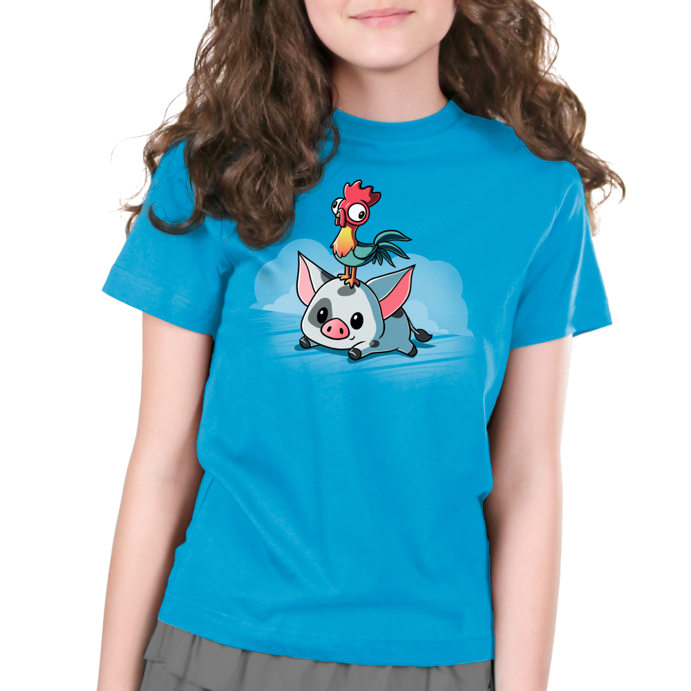 Pua and Hei Hei Kid's t-shirt model TeeTurtle officially licensed cobalt blue t-shirt featuring Pua and Hei Hei from Moana