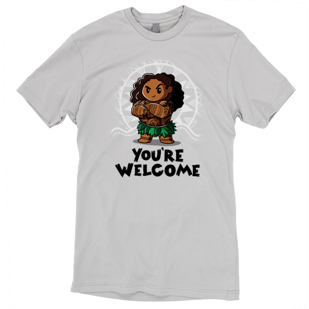 You're Welcome t-shirt officially licensed light gray Disney t-shirt featuring Muai with his arms crossed from Moana