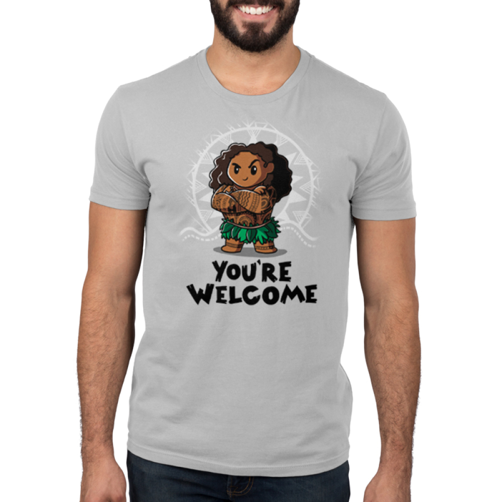 You're Welcome Men's t-shirt model officially licensed light gray Disney t-shirt featuring Muai with his arms crossed from Moana