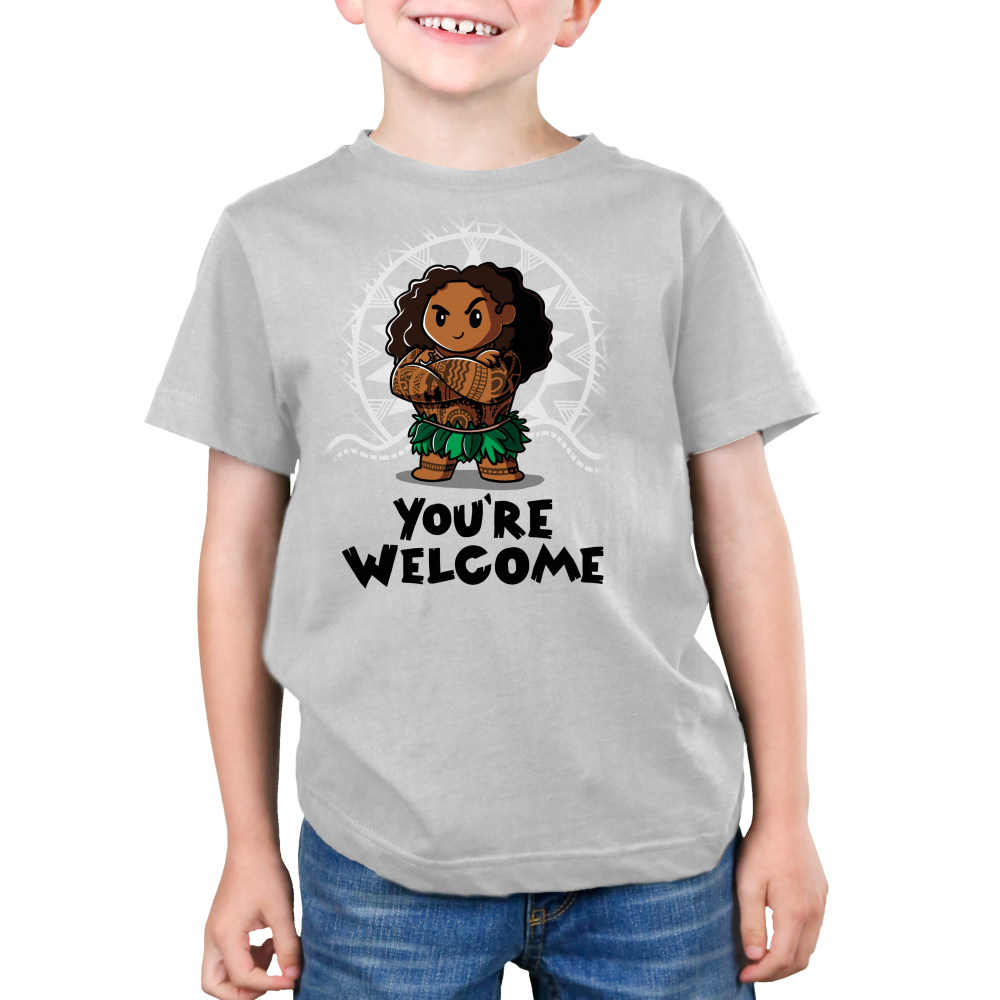 You're Welcome Kid's t-shirt model officially licensed light gray Disney t-shirt featuring Muai with his arms crossed from Moana