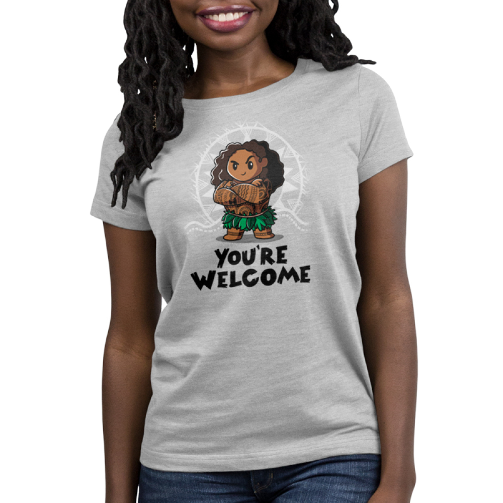 You're Welcome Women's t-shirt model officially licensed light gray Disney t-shirt featuring Muai with his arms crossed from Moana