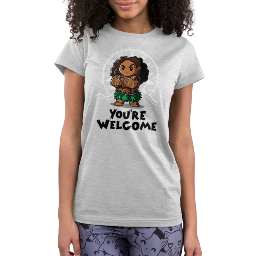 You're Welcome Junior's t-shirt model officially licensed light gray Disney t-shirt featuring Muai with his arms crossed from Moana