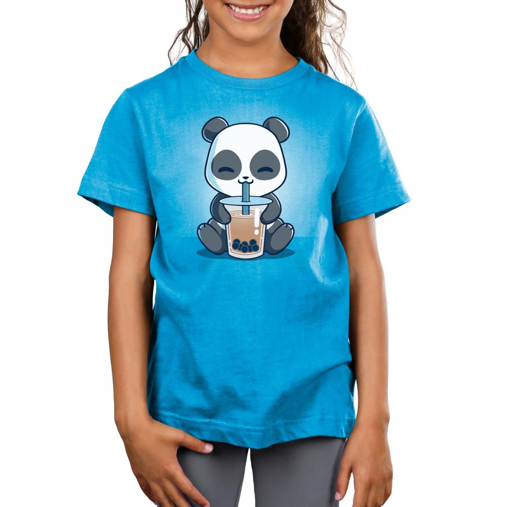 Boba Panda Kid's t-shirt model TeeTurtle cobalt blue t-shirt featuring a smiling panda drinking a boba drink