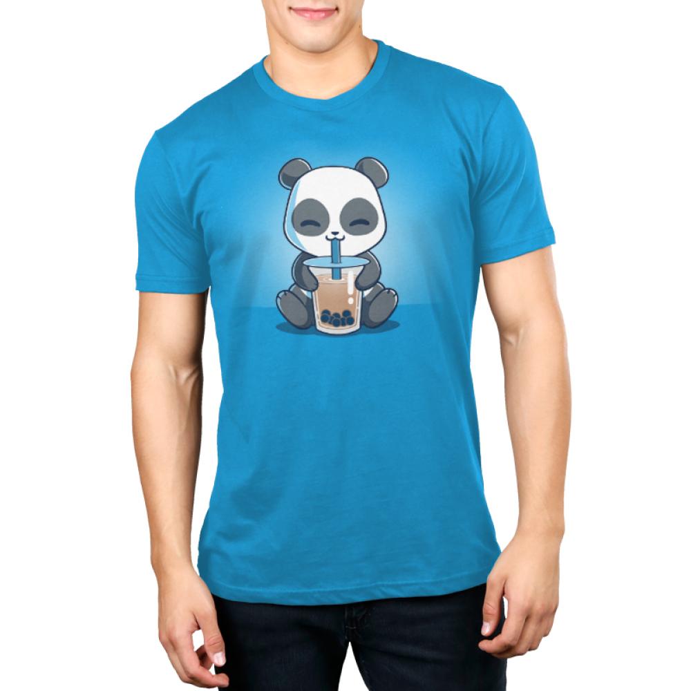 Boba Panda Men's t-shirt model TeeTurtle cobalt blue t-shirt featuring a smiling panda drinking a boba drink