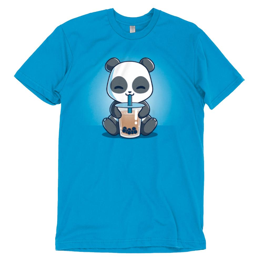 Boba Panda t-shirt TeeTurtle cobalt blue t-shirt featuring a smiling panda drinking a boba drink