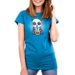 Boba Panda Women's t-shirt model TeeTurtle cobalt blue t-shirt featuring a smiling panda drinking a boba drink