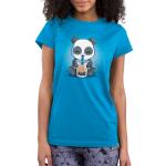 Boba Panda Junior's t-shirt model TeeTurtle cobalt blue t-shirt featuring a smiling panda drinking a boba drink