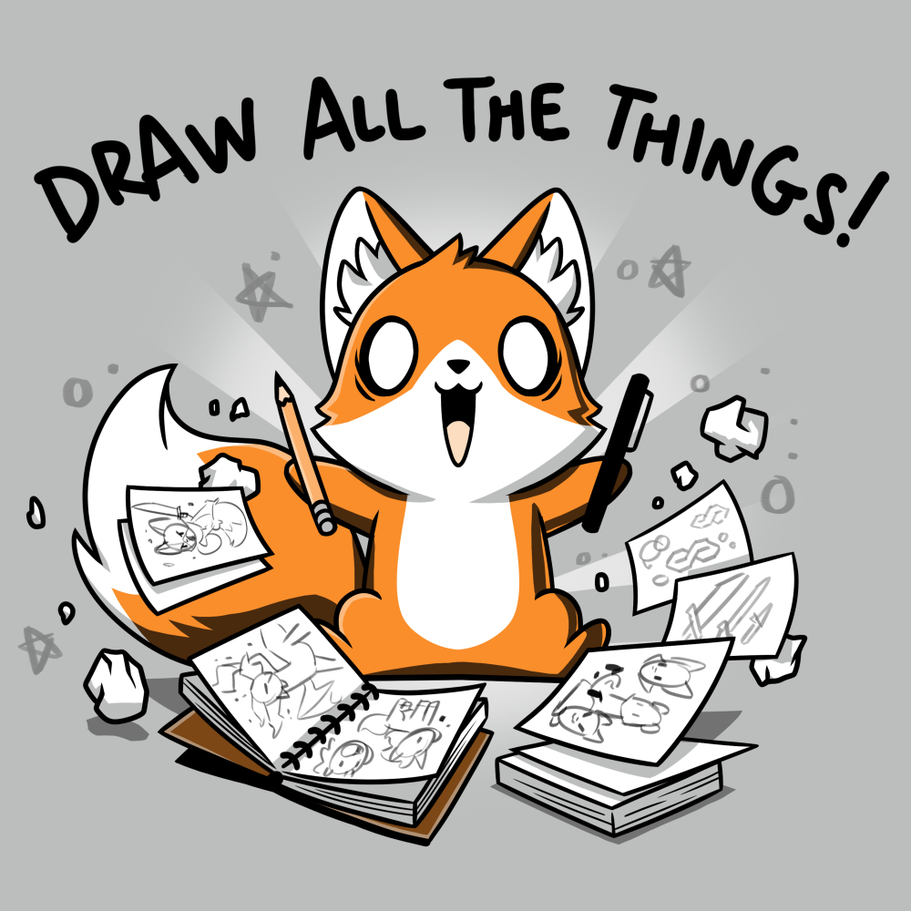Draw All the Things t-shirt TeeTurtle light gray t-shirt featuring an excited looking fox with a pen in one hand and a pencil in the other surrounded by sketchbooks