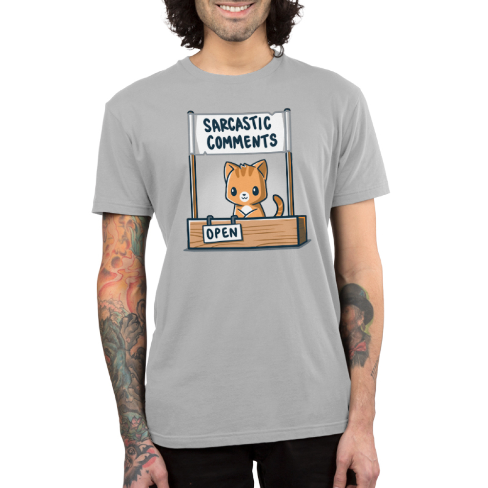 Sarcasm Stand Men's t-shirt Model TeeTurtle light gray t-shirt featuring a cat sitting at a stand with the signs Sarcastic Comments and Open