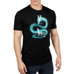 Spirit of the Moon Men's t-shirt model TeeTurtle black t-shirt featuring a blue dragon swirling around a wolf