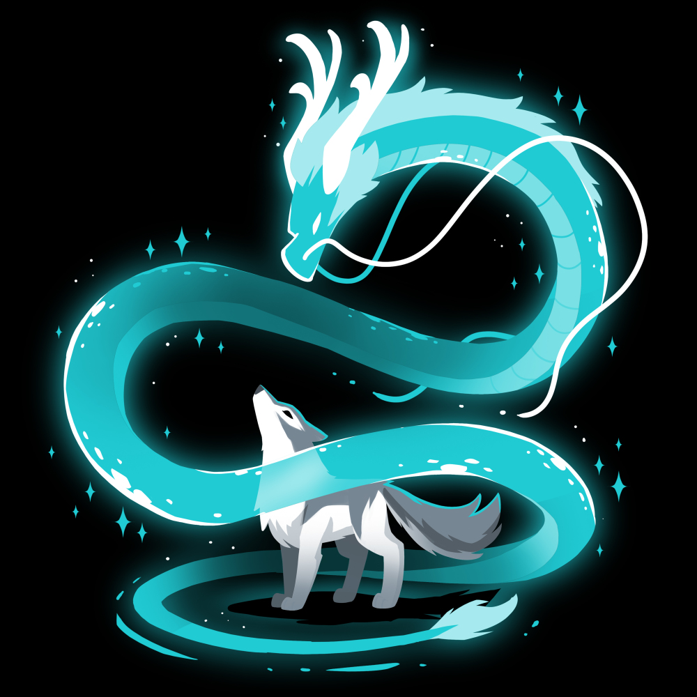 Spirit of the Moon t-shirt TeeTurtle black t-shirt featuring a blue dragon swirling around a wolf