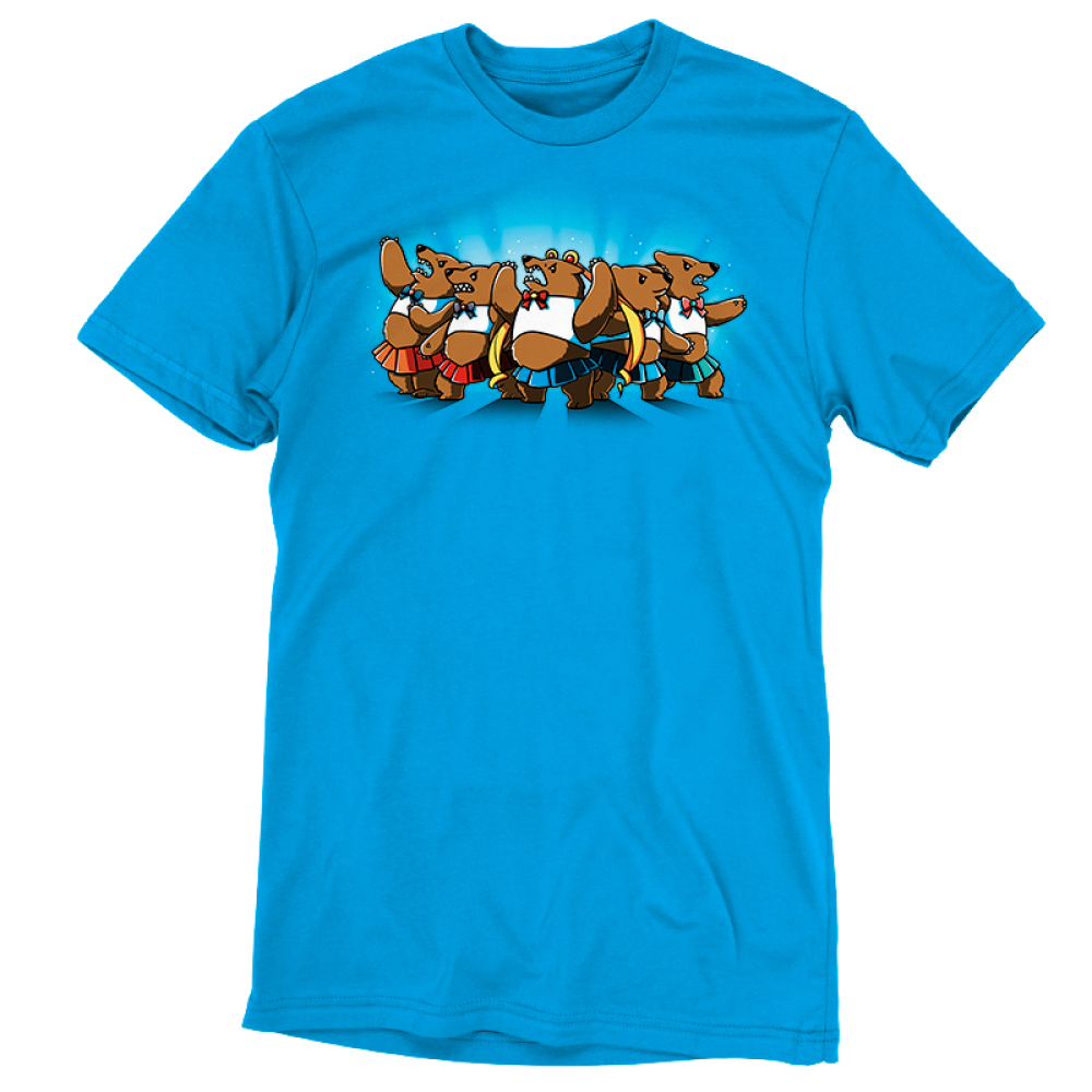 Astral Bears t-shirt TeeTurtle cobalt blue t-shirt featuring a group of five sparkly, angry bears in fighting poses wearing white crop tops and bows and short pleated skirts in various colors, with the middle bear wearing long blonde ringlet pigtails.