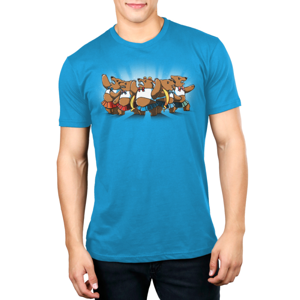 Astral Bears Men's t-shirt model TeeTurtle cobalt blue t-shirt featuring a group of five sparkly, angry bears in fighting poses wearing white crop tops and bows and short pleated skirts in various colors, with the middle bear wearing long blonde ringlet pigtails.