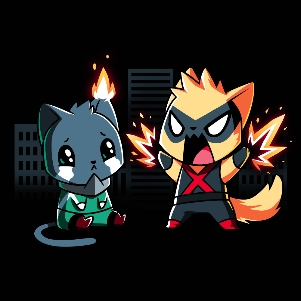 Cat Fight t-shirt TeeTurtle black t-shirt featuring two dark buildings behind a crying black cat in a green leotard and gray collar with his left ear on fire that's sitting beside an orange cat wearing a black mask and black leotard that has a red X on it that's standing and waving his gloved paws in the air which is emitting fiery sparks.