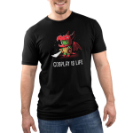 Cosplay is Life Men's t-shirt model TeeTurtle black t-shirt featuring a green turtle with a sword and shield wearing a costume consisting of a dragon head, dragon wings, and dragon paws.