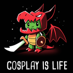 Cosplay is Life t-shirt TeeTurtle black t-shirt featuring a green turtle with a sword and shield wearing a costume consisting of a dragon head, dragon wings, and dragon paws.