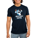 Need More Coffee (Unicorn) Men's t-shirt model TeeTurtle navy t-shirt featuring an enraged white uicorn with a blue mane with coffee around his mouth, and is holding up and waving two cups of coffee that's spilling all over the place.