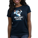 Need More Coffee (Unicorn) Women's t-shirt model TeeTurtle navy t-shirt featuring an enraged white uicorn with a blue mane with coffee around his mouth, and is holding up and waving two cups of coffee that's spilling all over the place.