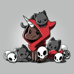 Necromancer Familiars t-shirt TeeTurtle silver t-shirt featuring an angry-looking brown unicorn with a red tail wearing a red hood with a sleeping black cat on his head and that's surrounded by two black cats and several white skulls.