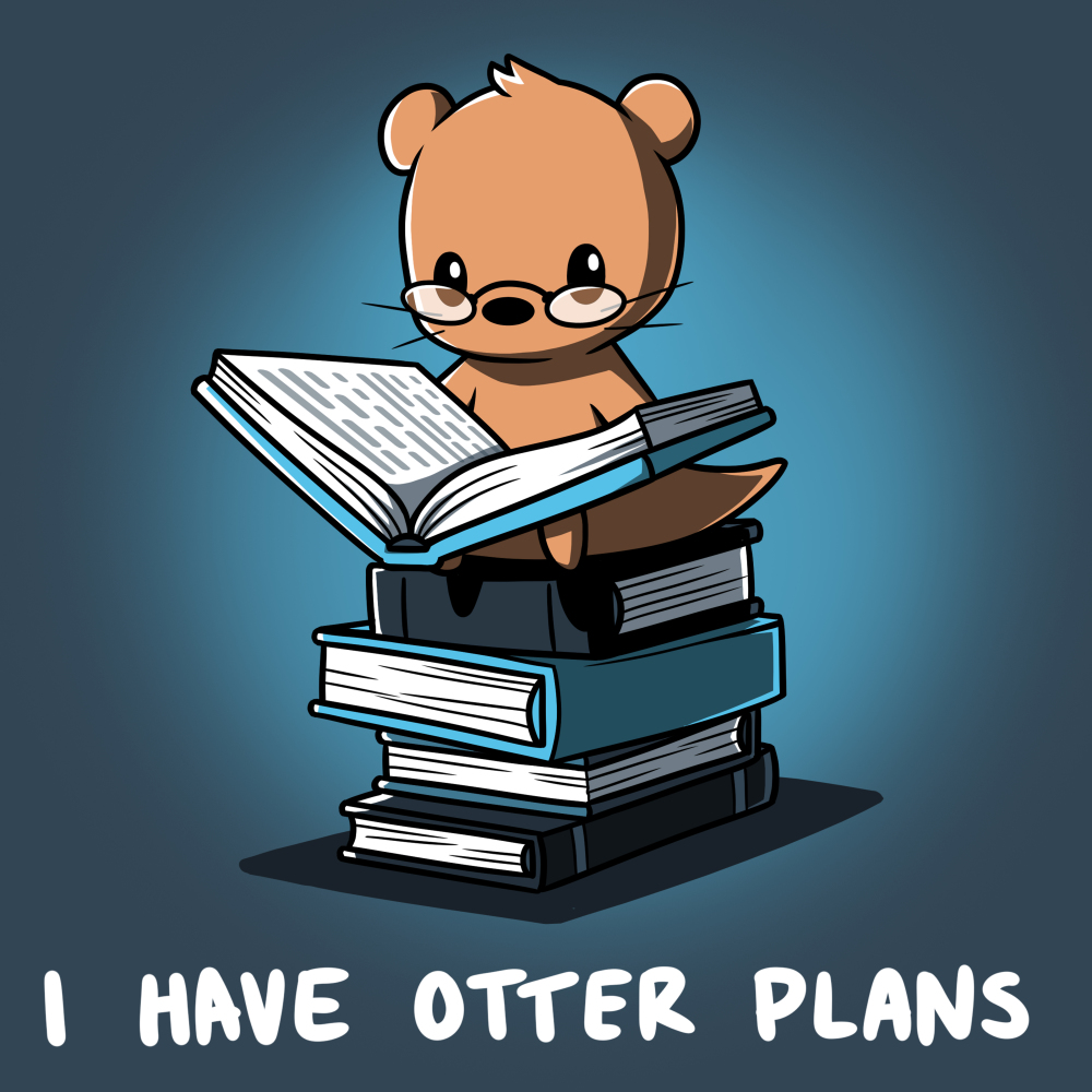 I Have Otter Plans t-shirt TeeTurtle denim blue t-shirt featuring an otter in reading glasses holding open a big book while sitting on a pile of books