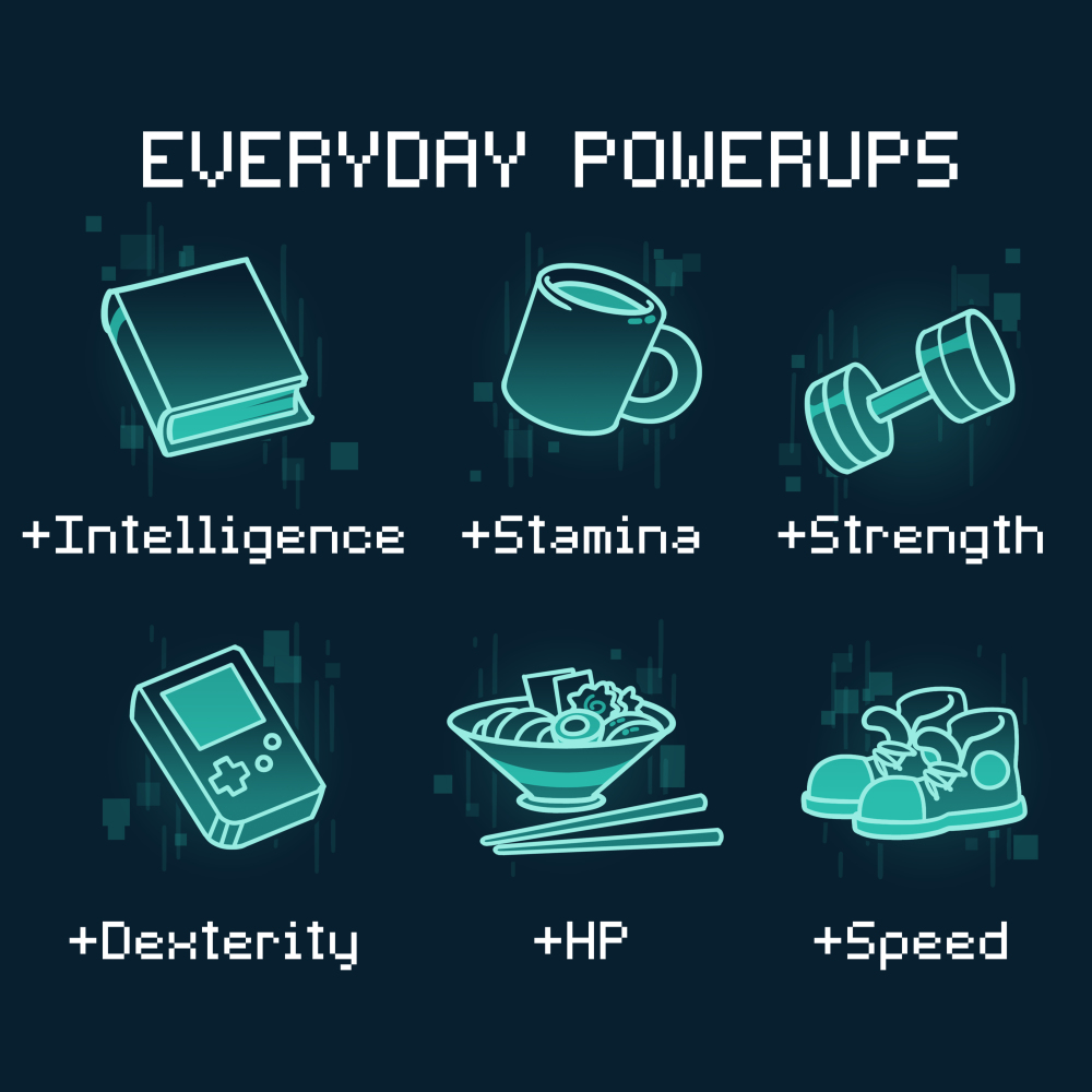Everyday Powerups t-shirt TeeTurtle navy t-shirt featuring a book with +intelligence underneath, a coffee mug with + stamina underneath, a weight with + strength underneath, a hand held video game with + dexterity underneath, a bowl of ramen with + HP underneath, and a pair of sneakers with + speed underneath
