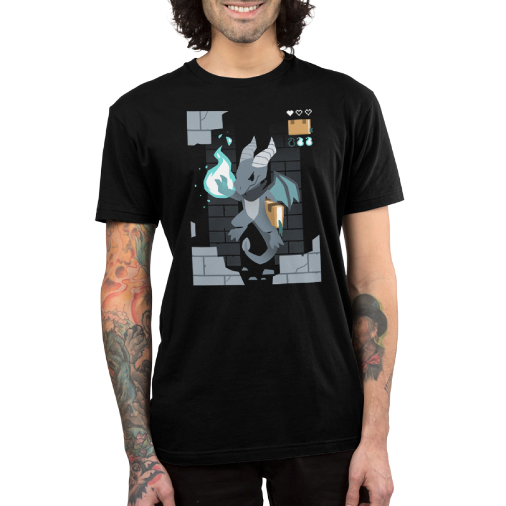 Sorcerer Class Men's t-shirt model TeeTurtle black t-shirt featuring a video game dragon with a green fire ball in its paw