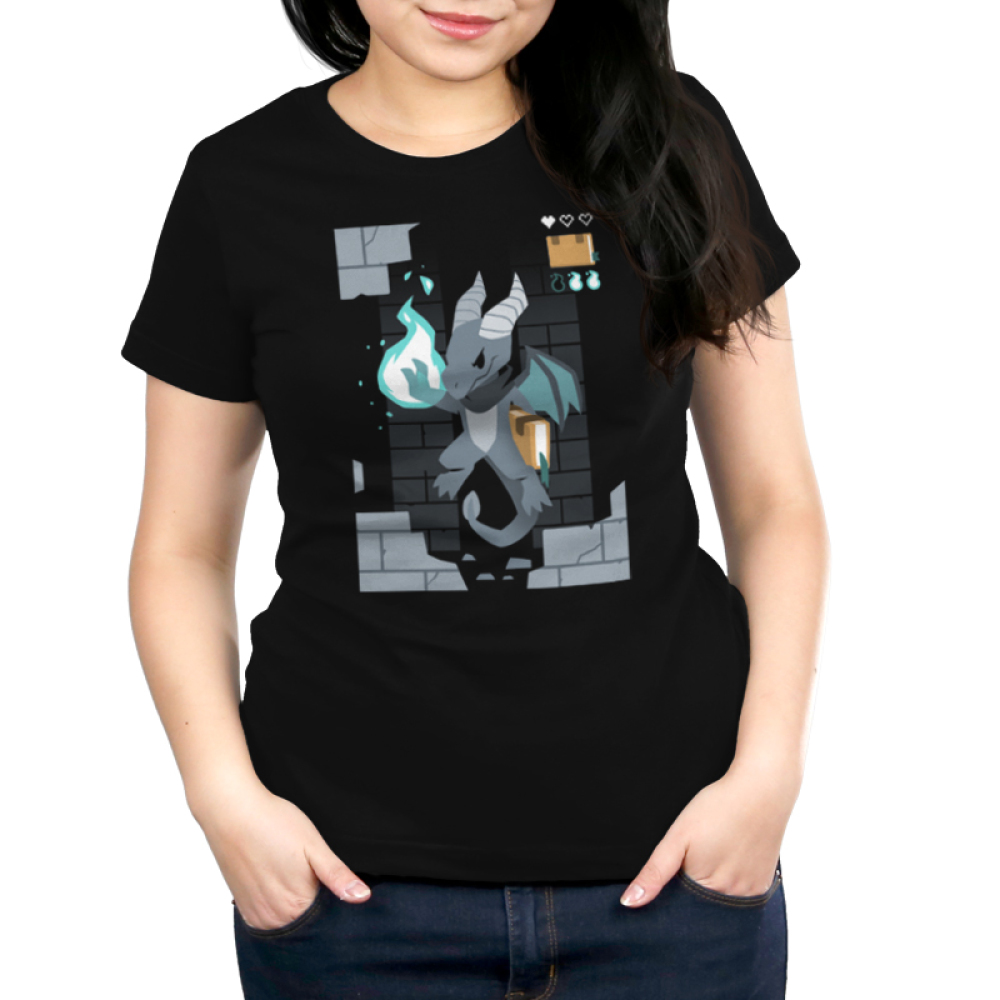 Sorcerer Class Women's t-shirt model TeeTurtle black t-shirt featuring a video game dragon with a green fire ball in its paw