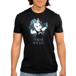 I'm Only Here for the Selfies Men's t-shirt model TeeTurtle black t-shirt featuring a white unicorn with a short, dark blue mane wearing a tank top with a monochrome rainbow flexing his upper right limb while taking a selfie.